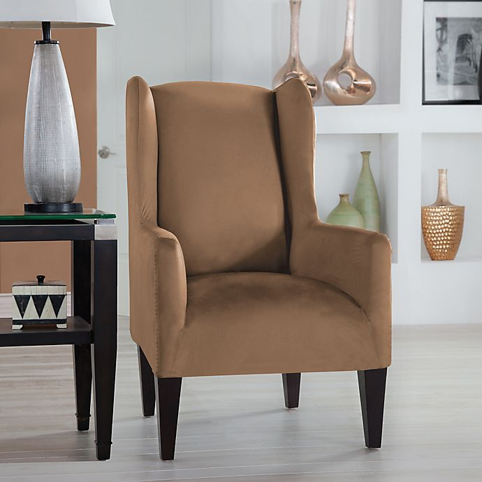 Alternate image 1 for Perfect Fit® Stretch Fit Microsuede Wingback Chair Slipcover in Camel