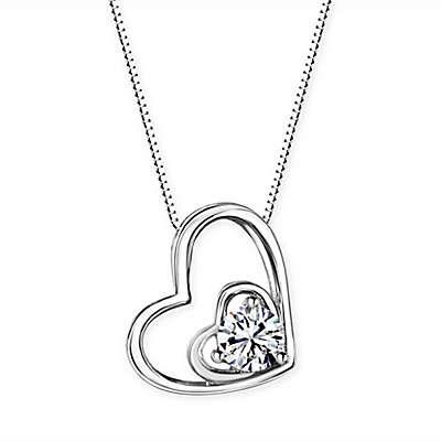 Swarovski® Platinum-Plated Sterling Silver Swarovski Zirconia 18-Inch Heart Pendant Necklace