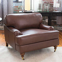 Elements Athens Leather Accent Chair in Bourbon