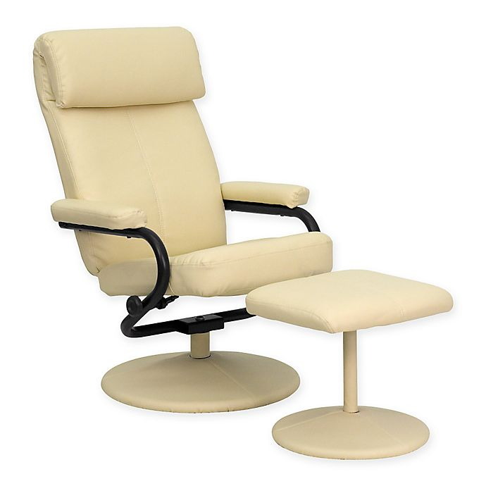Alternate image 1 for Flash Furniture Contemporary Recliner and Ottoman Set in Cream