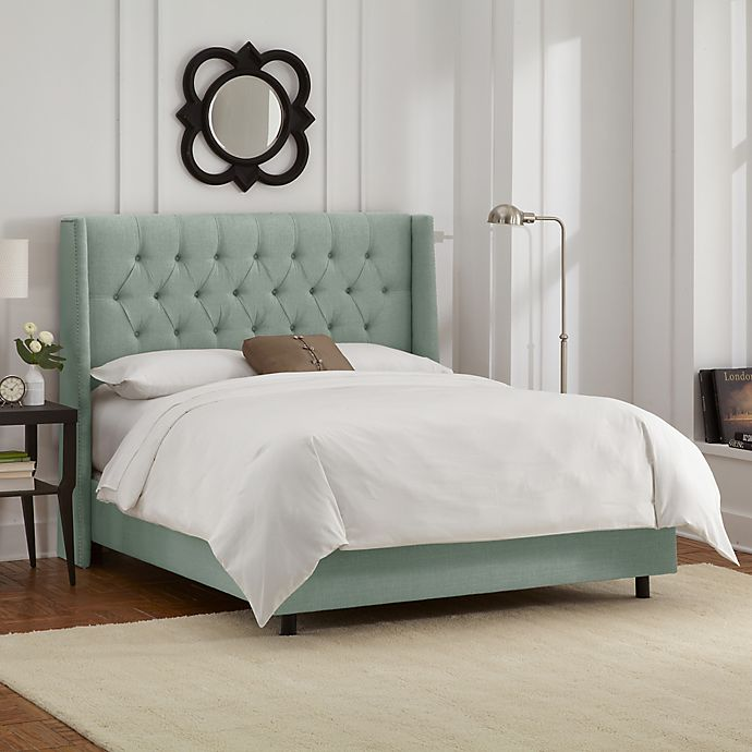 Alternate image 1 for Abbie Wingback King Bed with Upholstered Headboard in Swedish Blue