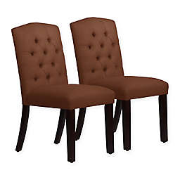 Skyline Furniture Denise Arched Dining Chair in Linen Chocolate (Set of 2)