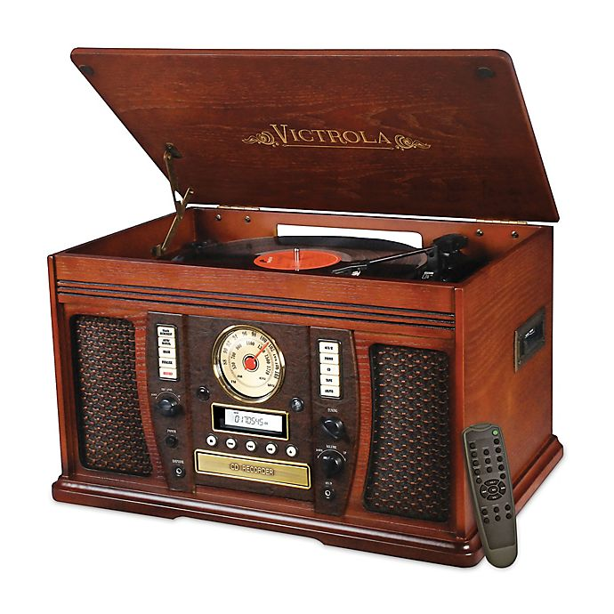 Alternate image 1 for Victrola™ Aviator Wooden 7-in-1 Nostalgic Record Player with Bluetooth and Digital CD Encoding