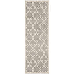 Safavieh Amherst 2-Foot 3-Inch x 9-Foot Clove Indoor/Outdoor Area Rug in Light Grey/Ivory