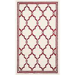 Safavieh Amherst 3-Foot x 5-Foot Quake Indoor/Outdoor Area Rug in Ivory/Red