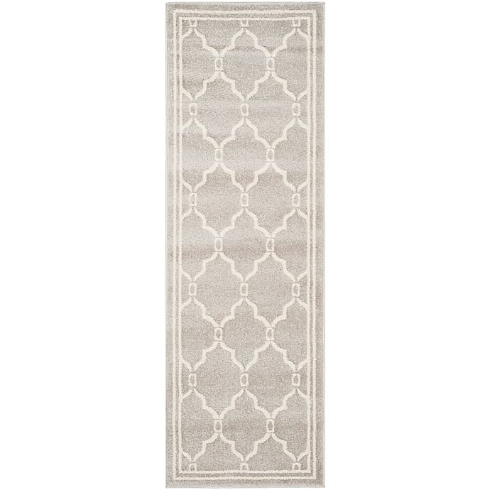 Alternate image 1 for Safavieh Amherst 2-Foot 3-Inch x 13-Foot Quake Indoor/Outdoor Area Rug in Light Grey/Ivory