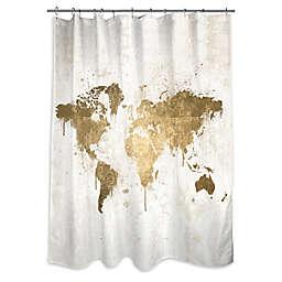 Oliver Gal Artist Co. Mapamundi White Gold Shower Curtain