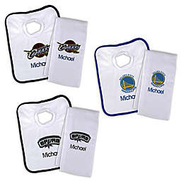 Designs by Chad and Jake NBA Personalized Bib and Burb Cloth Set