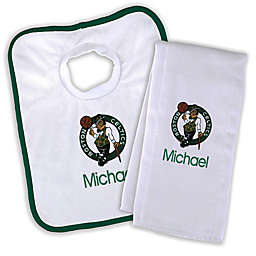 Designs by Chad and Jake NBA Boston Celtics Personalized Bib and Burb Cloth Set