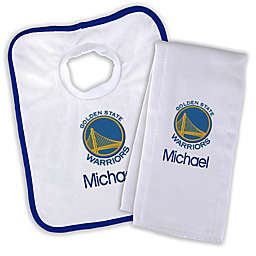 Designs by Chad and Jake  NBA Golden State Warriors Personalized Bib and Burb Cloth Set