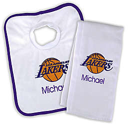 Designs by Chad and Jake NBA Los Angeles Lakers Personalized Bib and Burb Cloth Set