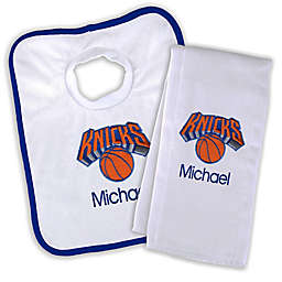 Designs by Chad and Jake NBA New York Knicks Personalized Bib and Burb Cloth Set