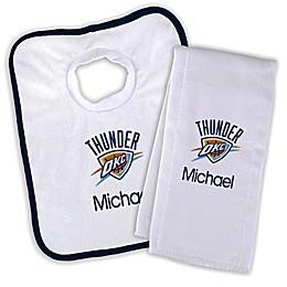 Designs by Chad and Jake NBA Oklahoma City Thunder Personalized Bib and Burb Cloth Set