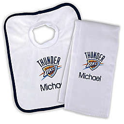 Designs by Chad and Jake NBA Oklahoma City Thunder Personalized Bib and Burb Cloth Set