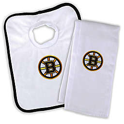 Designs by Chad and Jake NHL Boston Bruins Personalized Bib and Burb Cloth Set