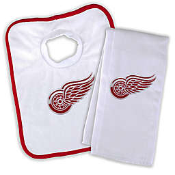 Designs by Chad and Jake NHL Detroit Red Wings Personalized Bib and Burb Cloth Set