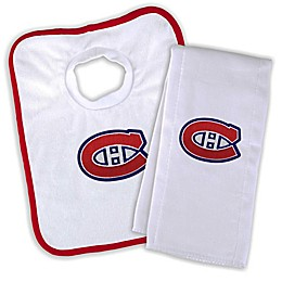 Designs by Chad and Jake NHL Montreal Canadiens Personalized Bib and Burb Cloth Set