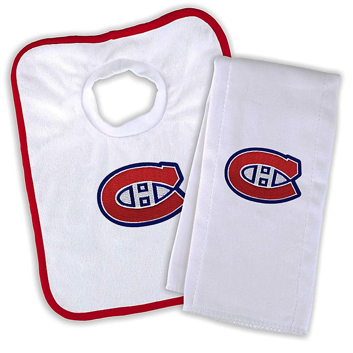 Alternate image 1 for Designs by Chad and Jake NHL Montreal Canadiens Personalized Bib and Burb Cloth Set