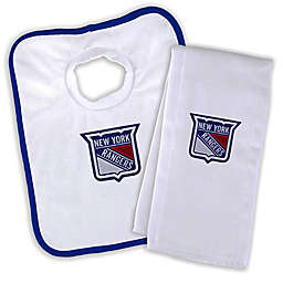 Designs by Chad and Jake NHL New York Rangers Personalized Bib and Burb Cloth Set