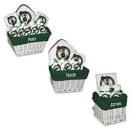 Designs by Chad and Jake NBA Personalized Boston Celtics Gift Basket in White