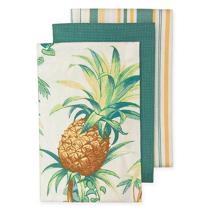 Tommy Bahama Bathroom Towels: Tommy Bahama Tortuga Pineapple Kitchen Towels (Set Of 3