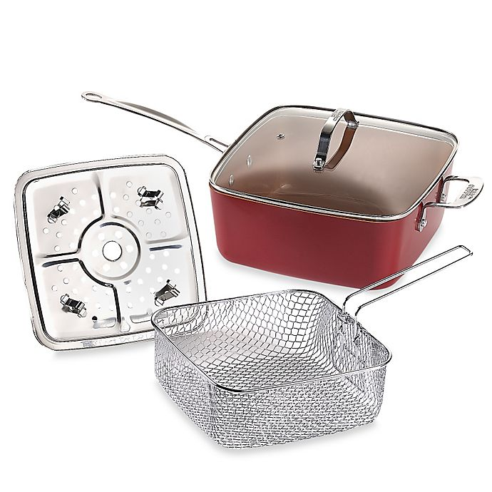Alternate image 1 for Red Copper™ 5-Piece Deep 10-Inch Square Pan Set