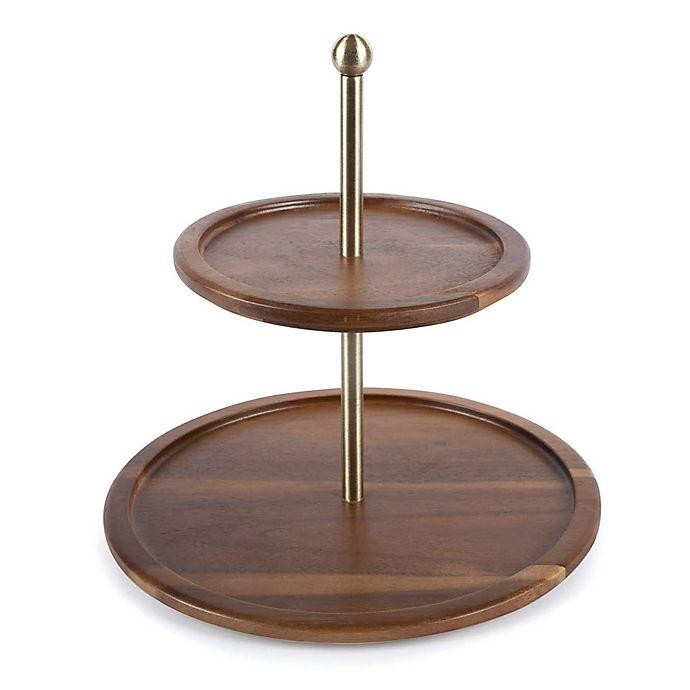 Acacia Wood 2 Tier Serving Platter
