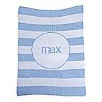Butterscotch Blankees Striped Luxury Knit Blanket in White/Blue