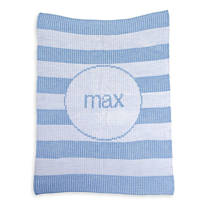 Alternate image 1 for Butterscotch Blankees Striped Luxury Knit Blanket in White/Blue