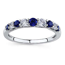 10K White Gold Created Blue and White Sapphire Prong Stackable Ring
