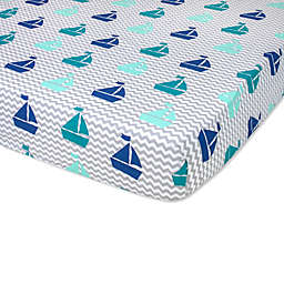 Wendy Bellissimo™ Mix & Match Sailboat Fitted Crib Sheet in Grey/Teal