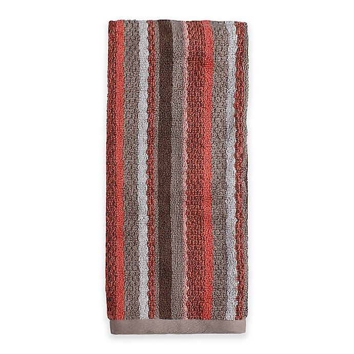 Alternate image 1 for Saturday Knight Coral Garden Striped Hand Towel in Coral