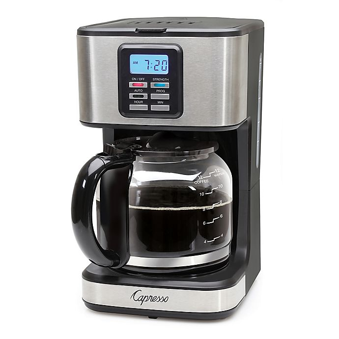 Alternate image 1 for Capresso® SG220 12-Cup Programmable Coffee Maker in Black/Stainless Steel