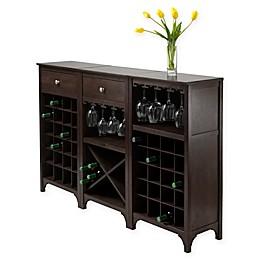 Winsome Trading Ancona 3-Piece Modular Wine Cabinet in Espresso