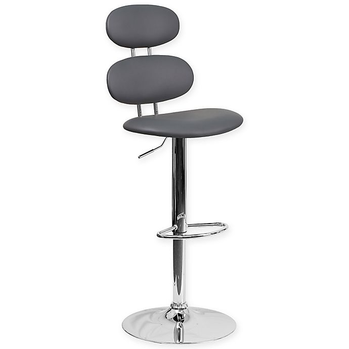 Alternate image 1 for Flash Furniture Vinyl Adjustable Height Bar Stool in Grey