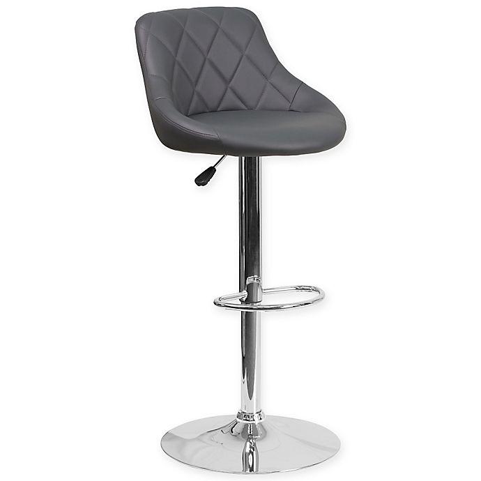 Alternate image 1 for Flash Furniture Contemporary Vinyl Adjustable Diamond Back Bucket Seat Bar Stool in Grey