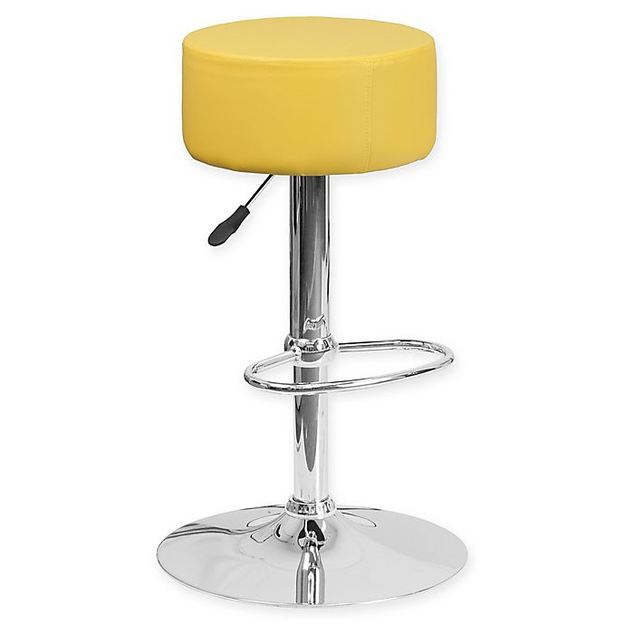 Alternate image 1 for Flash Furniture Contemporary Vinyl Adjustable Bar Stool in Yellow