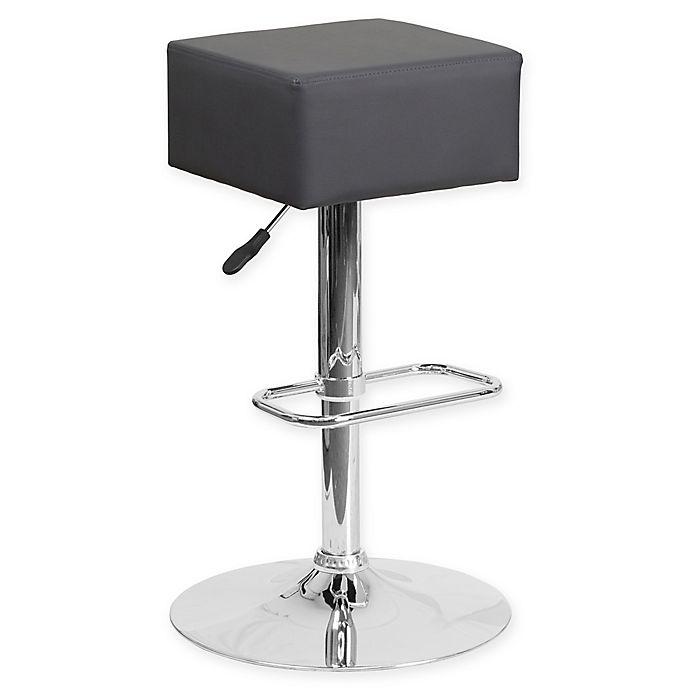 Alternate image 1 for Flash Furniture Contemporary Vinyl Adjustable Square Bar Stool in Grey