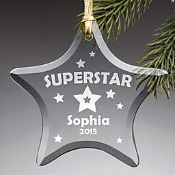 "Star Shaped ""Superstar"" Glass Christmas Ornament"