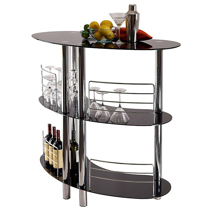 Entertainment Bar Furniture: Winsome Trading 3-Shelf Martini Bar In Black/Stainless