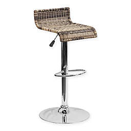 Flash Furniture Wicker Adjustable Bar Stool with Chrome Base in Brown