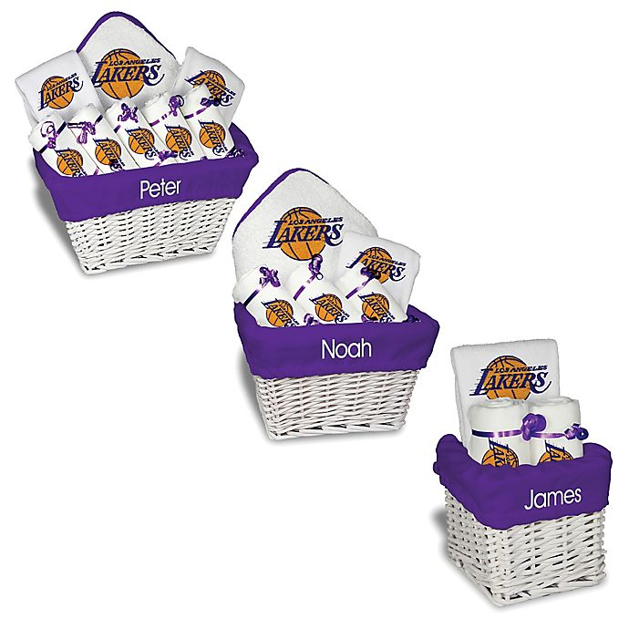 Alternate image 1 for Designs by Chad and Jake NBA Personalized Los Angeles Lakers Gift Basket in White