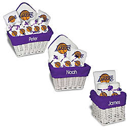 Designs by Chad and Jake NBA Personalized Los Angeles Lakers Gift Basket in White