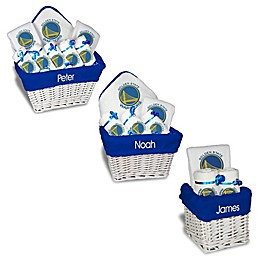 Designs by Chad and Jake NBA Personalized Golden State Warriors Gift Basket in White