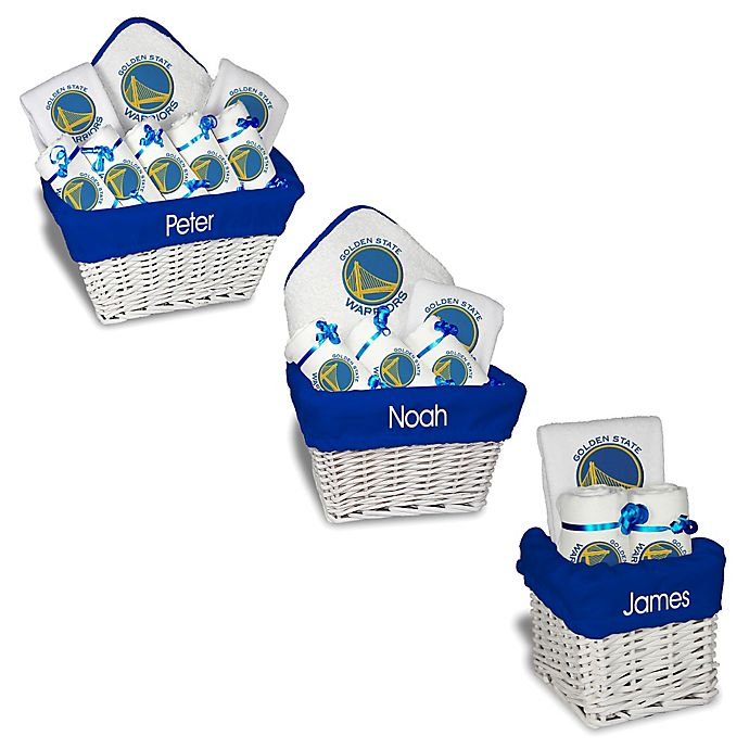 Alternate image 1 for Designs by Chad and Jake NBA Personalized Golden State Warriors Gift Basket in White