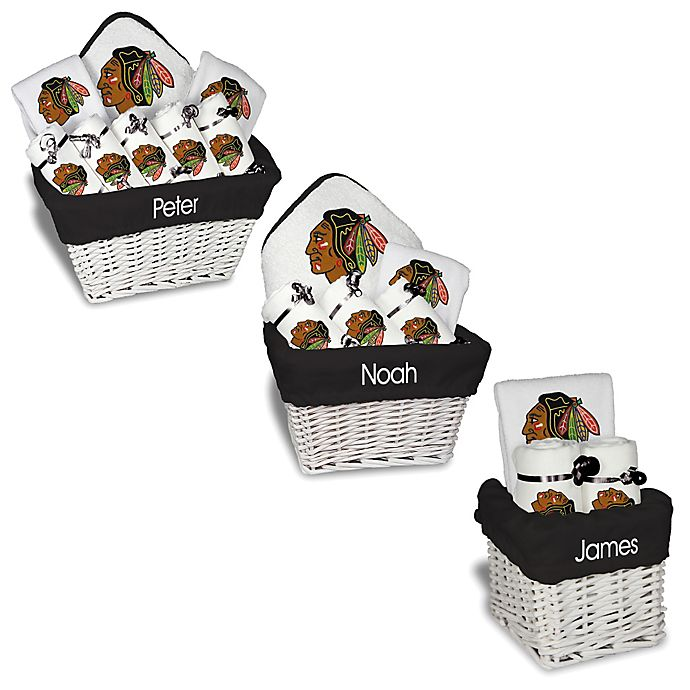 Alternate image 1 for Designs by Chad and Jake NHL Personalized Chicago Blackhawks Gift Basket in White