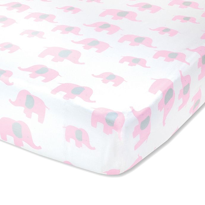 Alternate image 1 for Wendy Bellissimo™ Mix & Match Elephant Fitted Crib Sheet in White/Pink