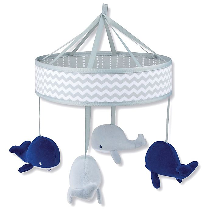 Alternate image 1 for Wendy Bellissimo™ Mix & Match Whale Musical Mobile in Grey/Navy