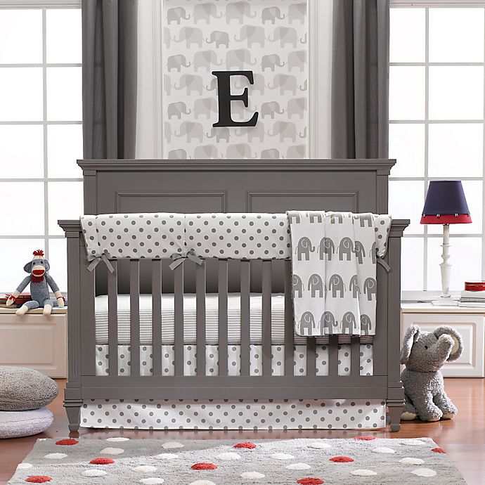 Alternate image 1 for Liz and Roo Elephants 3-Piece Crib Bedding Set in Grey
