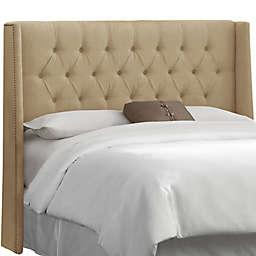 Skyline Furniture Abbie Wingback King Headboard in Linen Sandstone